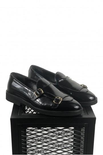 Hakiki Deri Siyah Rugan Toka Detaylı Ayakkabı