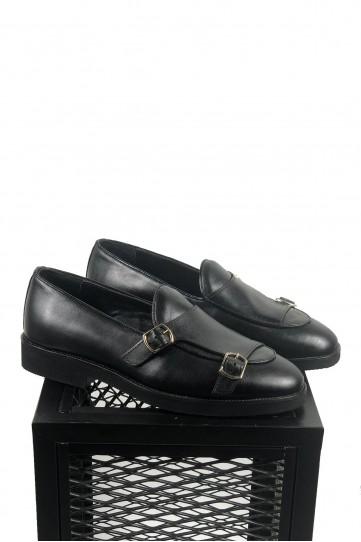 Hakiki Deri Siyah Toka Detaylı Ayakkabı