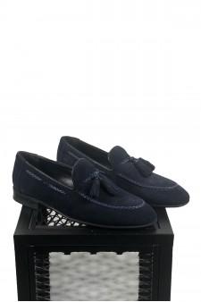 Süet Lacivert Ponponlu Ayakkabı