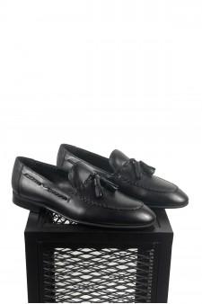 Hakiki Deri Siyah Ponponlu Ayakkabı