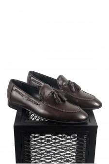 Hakiki Deri Kahve Ponponlu Ayakkabı