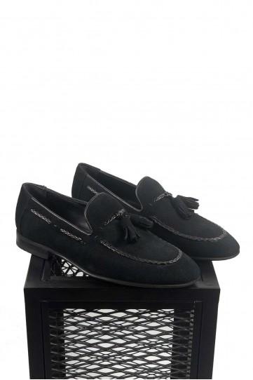 Süet Siyah Ponponlu Ayakkabı