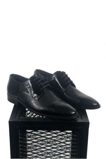 Hakiki Deri Pul Desenli Rugan Detaylı Ayakkabı