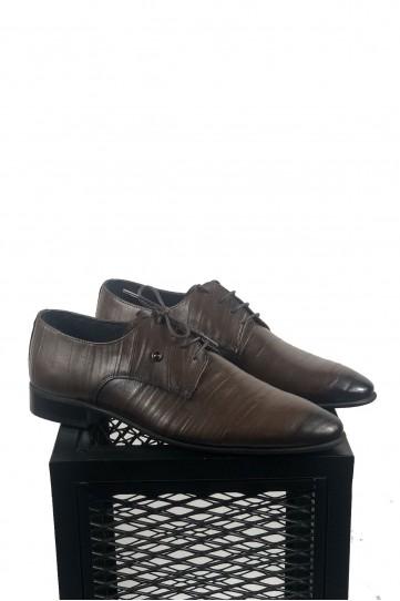Hakiki Deri Su Yolu Desenli Siyah Detaylı Kahve Ayakkabı