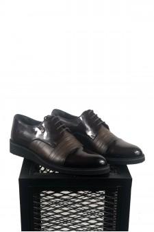 Hakiki Deri Eva Taban Rugan Detaylı Bordo Ayakkabı