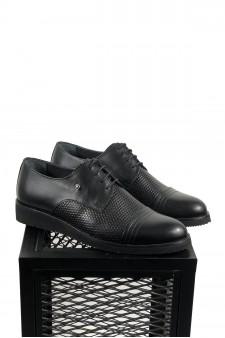 Hakiki Deri Siyah Eva Taban Pul Desenli  Ayakkabı