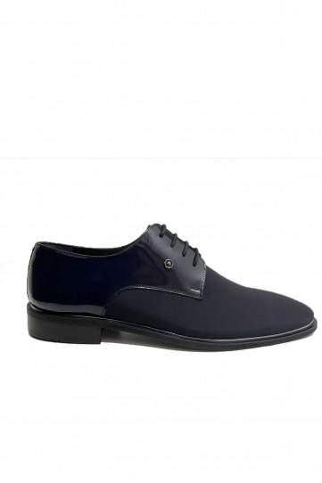 Lacivert Rugan Süet Detaylı Deri Klasik Ayakkabı