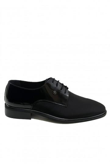 Siyah Rugan Süet Detaylı Deri Klasik Ayakkabı