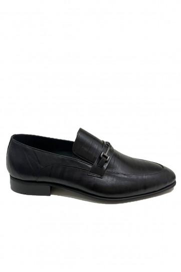 Siyah Su Yolu Desenli Deri Klasik Ayakkabı