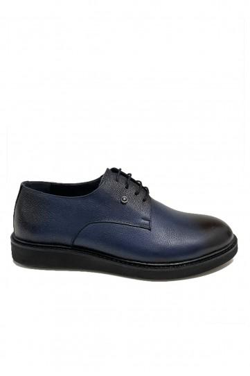 Lacivert Eva Tabanlı Siyah Detaylı Deri Ayakkabı