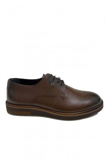 Kahve Eva Tabanlı Siyah Detaylı Deri Ayakkabı