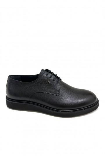 Siyah Eva Tabanlı Bağcıklı Deri Ayakkabı