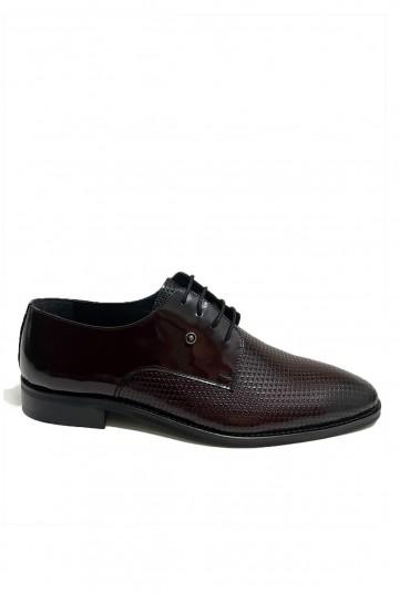 Bordo Pul Detaylı Klasik Deri Ayakkabı