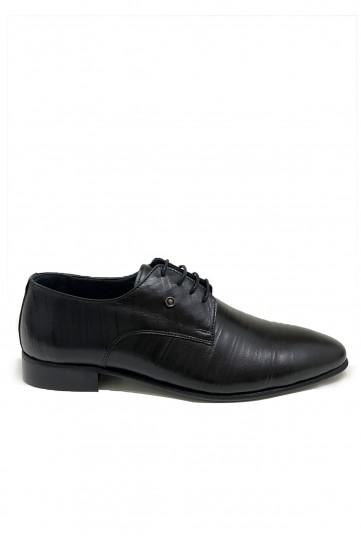 Siyah Su Yolu Desenli Bağcıklı Klasik Deri Ayakkabı