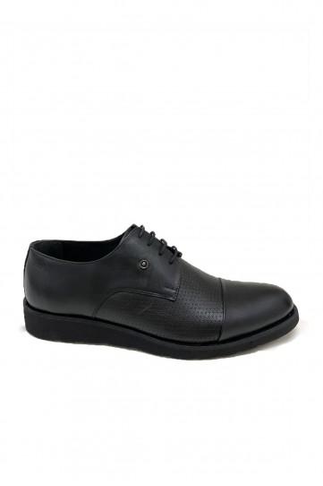 Siyah Eva Tabanlı Pul Detaylı Klasik Deri Ayakkabı