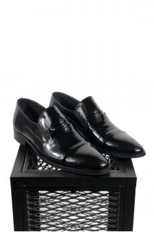 Hakiki Deri Siyah Rugan Klasik Ayakkabı
