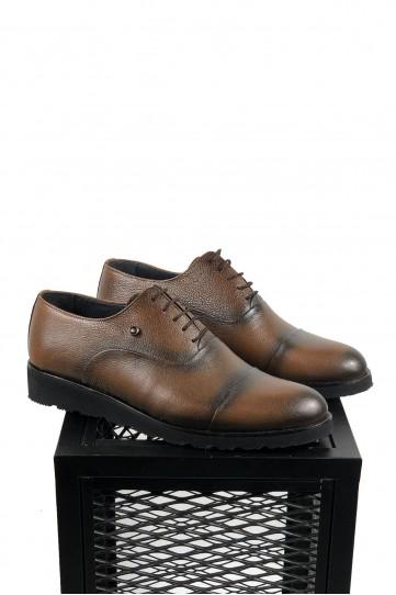 Hakiki Deri Kahve Eva Taban Siyah Detaylı Ayakkabı