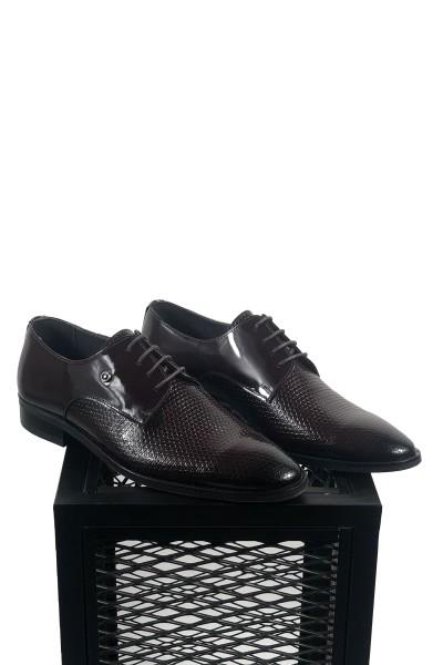 Hakiki Deri Pul Desenli Bordo Siyah Detaylı Ayakkabı