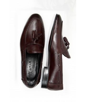 Kahve Deri Püsküllü Klasik Erkek Ayakkabı