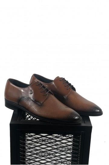 Hakiki Deri Pul Desenli Siyah Detaylı Ayakkabı