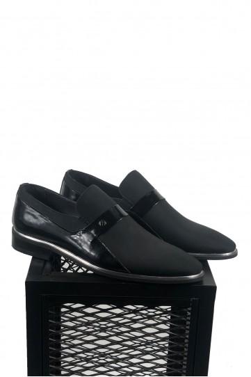 Saten Kaplama Süet Siyah Deri Ayakkabı