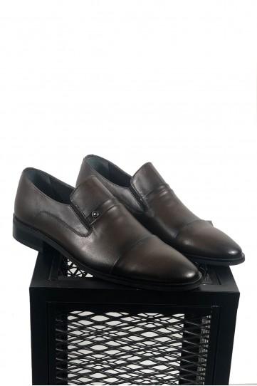 Hakiki Deri Koyu Kahve Su Yolu Desenli Klasik Ayakkabı