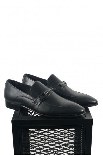 Hakiki Deri Tokalı Siyah Su Yolu Desenli Ayakkabı