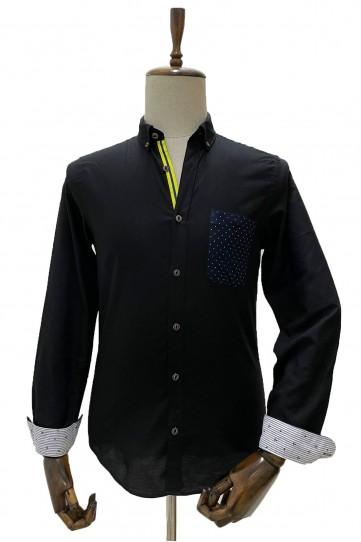 Erkek Siyah Slim Fit Desen Cepli Uzun Kollu Gömlek