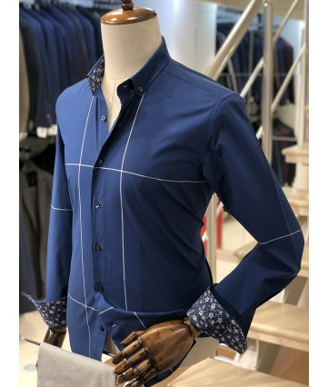 Beyaz Çizgili Koyu Mavi Slimfit Erkek Gömlek