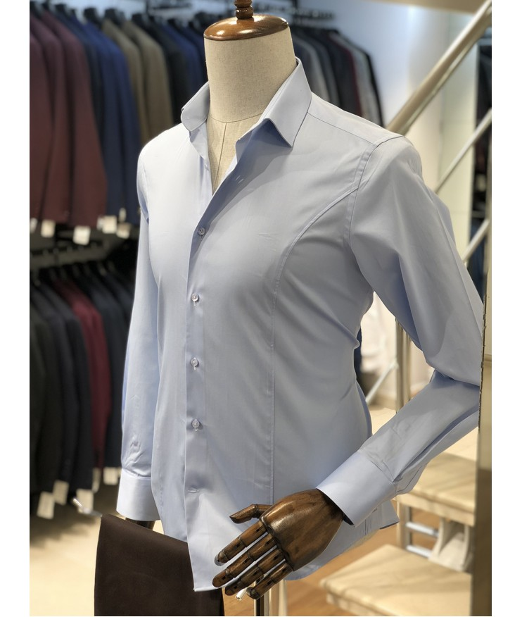 Buz Mavi Slimfit Erkek Gömlek