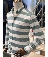 Füme Beyaz Şeritli Slimfit Erkek Gömlek