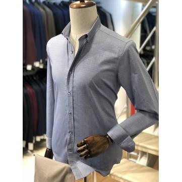 Füme Renk Desenli Slimfit Erkek Gömlek