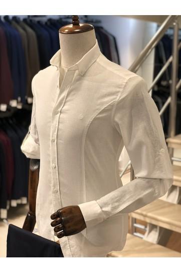 Keten Beyaz Slimfit Erkek Gömlek