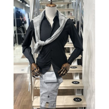 Manşetli Siyah Slimfit Erkek Gömlek