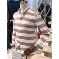 Mor Beyaz Şeritli Slimfit Erkek Gömlek