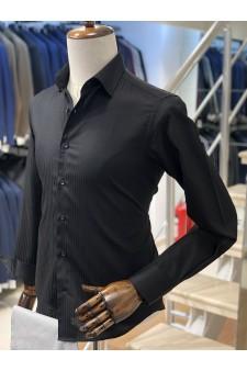 Siyah Çizgili Slimfit Erkek Gömlek