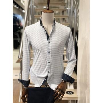 Siyah Desenli Beyaz Slimfit Erkek Gömlek