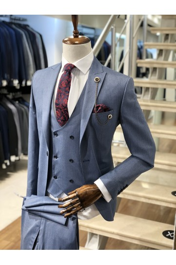 Erkek Açık Füme Slimfit Takım Elbise