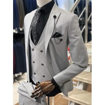Açık Krem Slimfit Takım Elbise