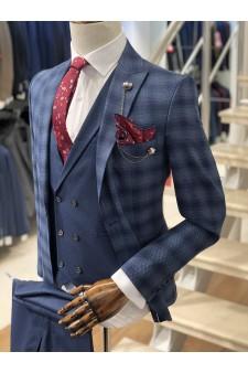 Ekose Mavi Slimfit Takım Elbise