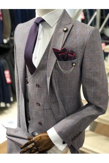 Ekose Mor Desenli Slimfit Takım Elbise