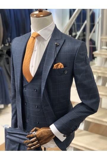 Ekose Safir Slimfit Takım Elbise
