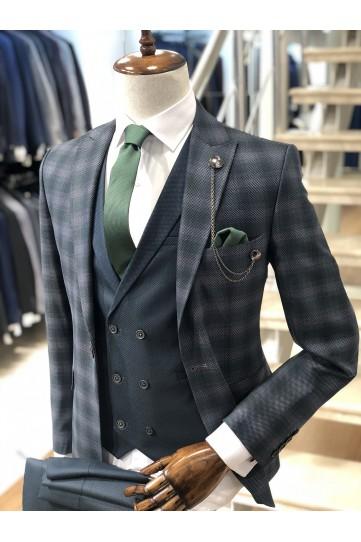 Ekose Yeşil Gri Slimfit Takım Elbise