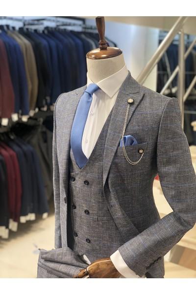 Ekose Açık Mavi Slimfit Takım Elbise