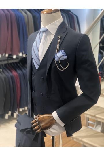 Koyu Füme Slimfit Takım Elbise