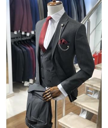Erkek Koyu Gri Slimfit Takım Elbise