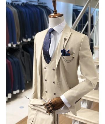 Erkek Krem Slimfit Takım Elbise