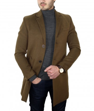 Slim Fit V Yaka Camel Kaşe Kaban